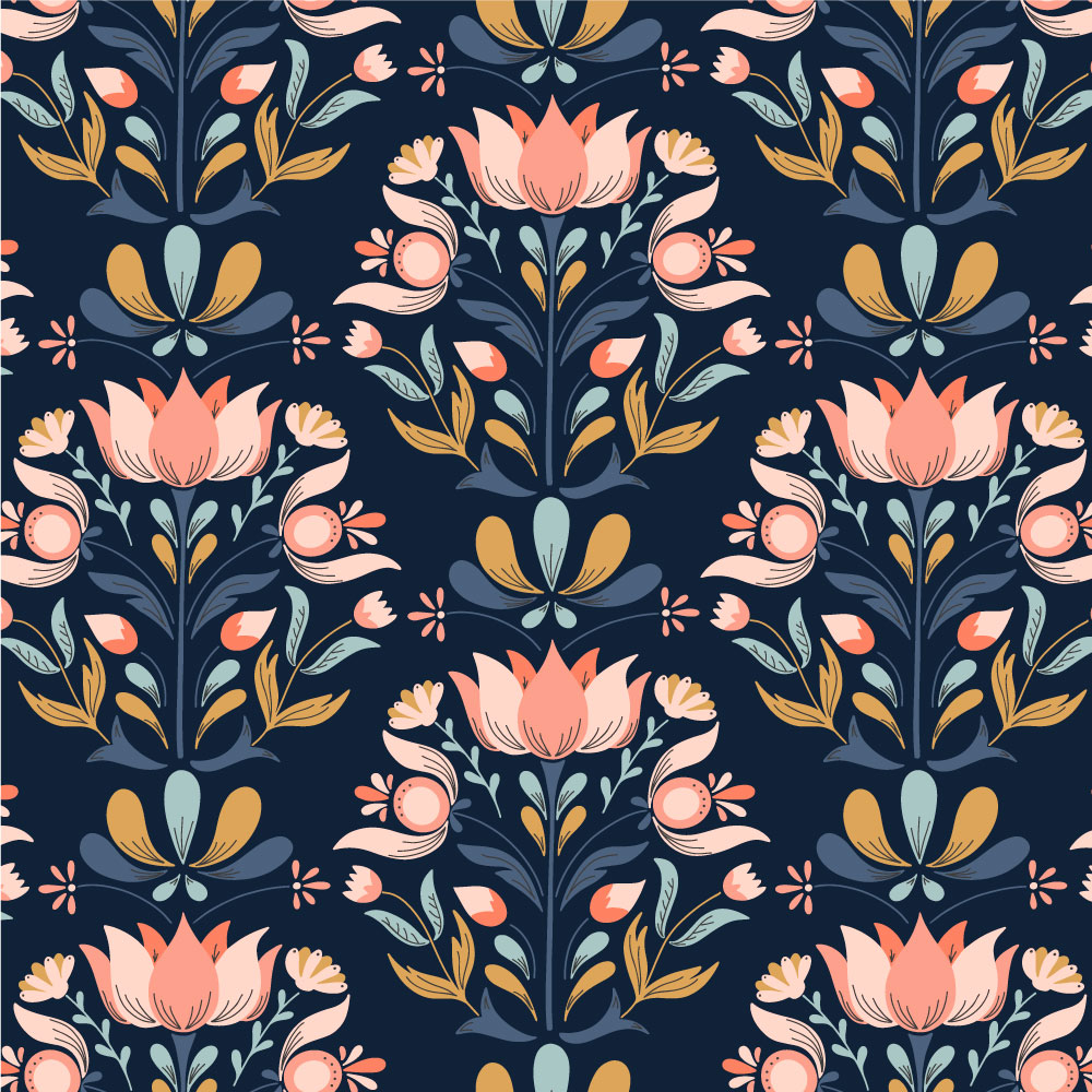 Portfolio swatch of a half-drop repeating pattern of pastel, folk-art inspired florals on a navy background.