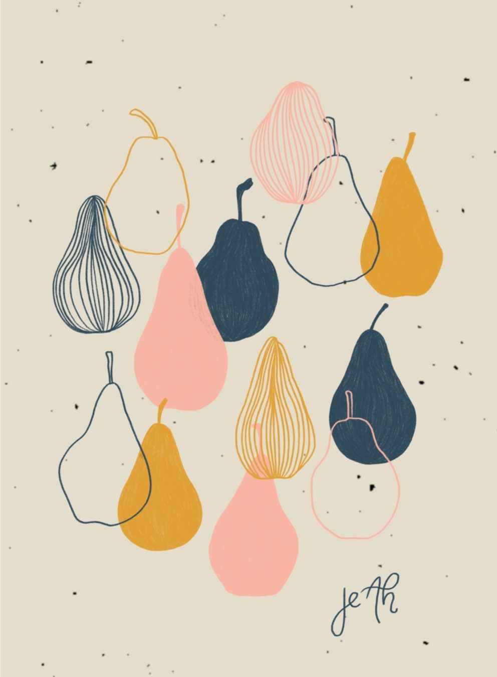 Digital illustration of pears
