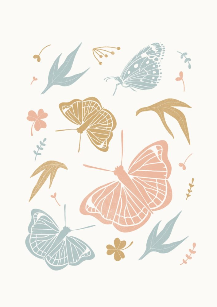 Block Print of Butterflies