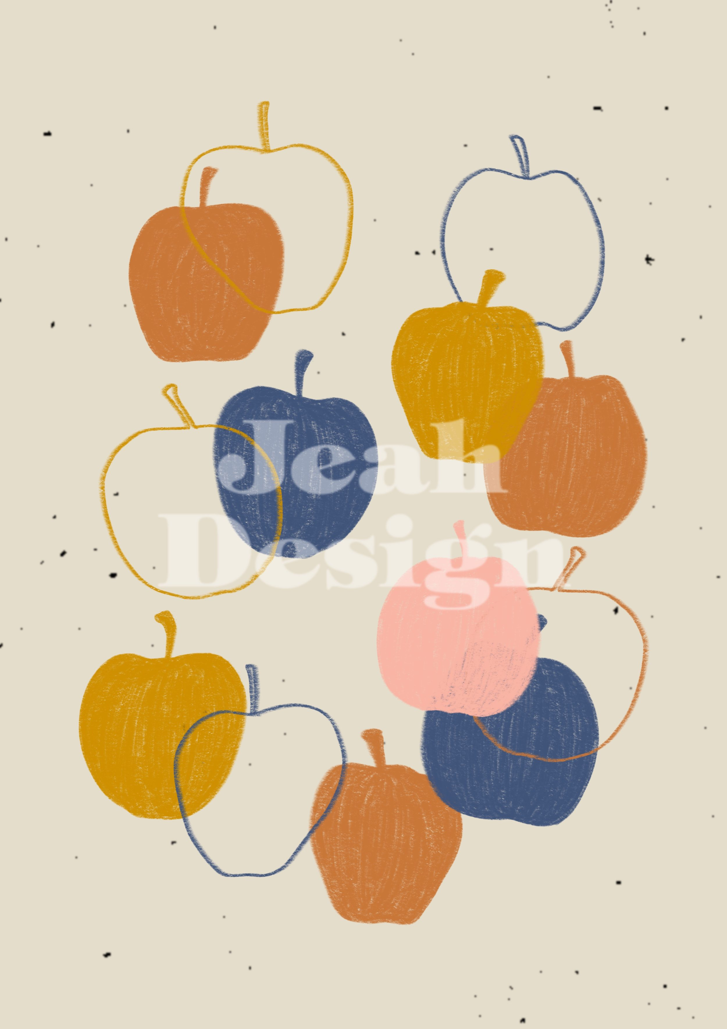 Art print with apple illustrations one it.