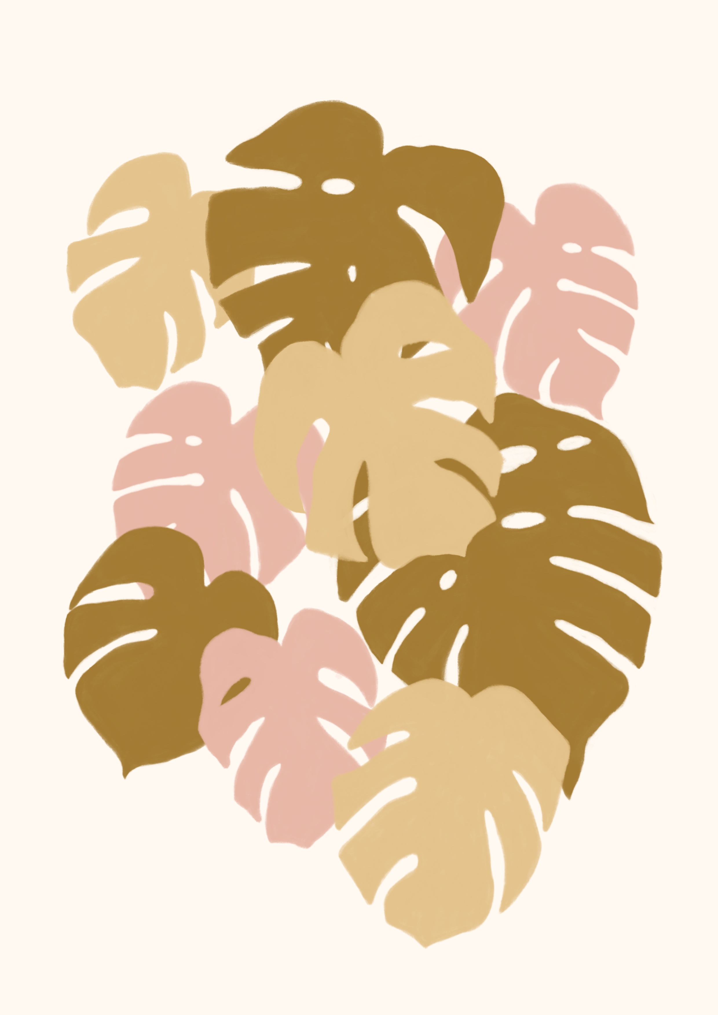 Illustration of pastel coloured monstera plants
