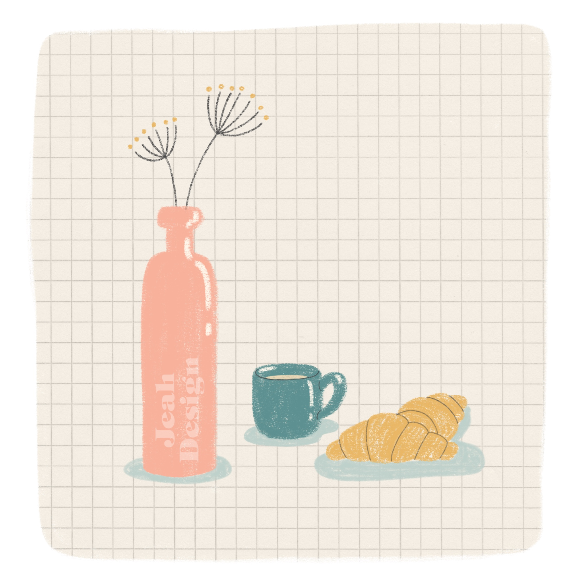 Digital illustration of a croissant, coffee mug and a bottle with flowers.