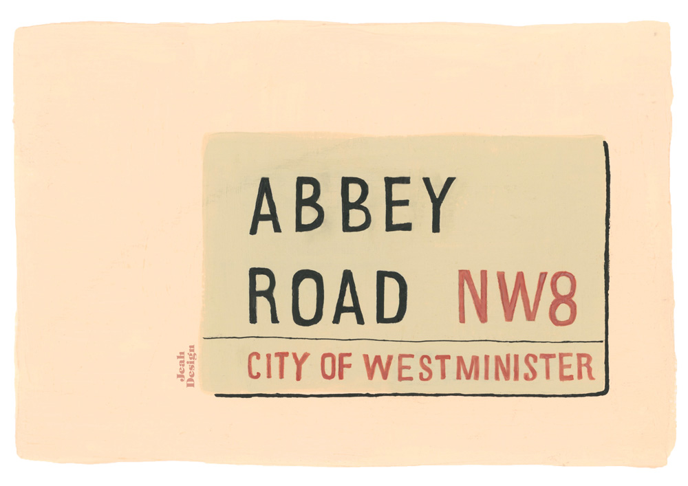 A gouache hand-lettered street sign of the Abbey Road in London.
