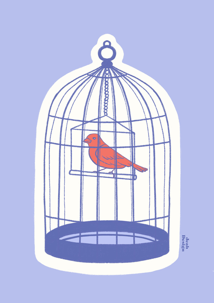 Illustration of a red bird in a birdcage on a misty blue background.