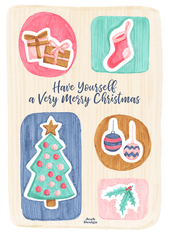 A card design with Christmas items like gifts, a Christmas tree and a sock, baubles and a holly branch illustrated with brush pens.