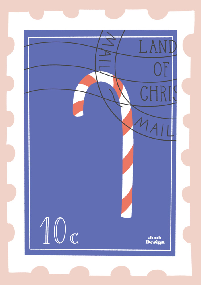 An illustrated card design of a postmarked postage stamp with a candy cane on it.