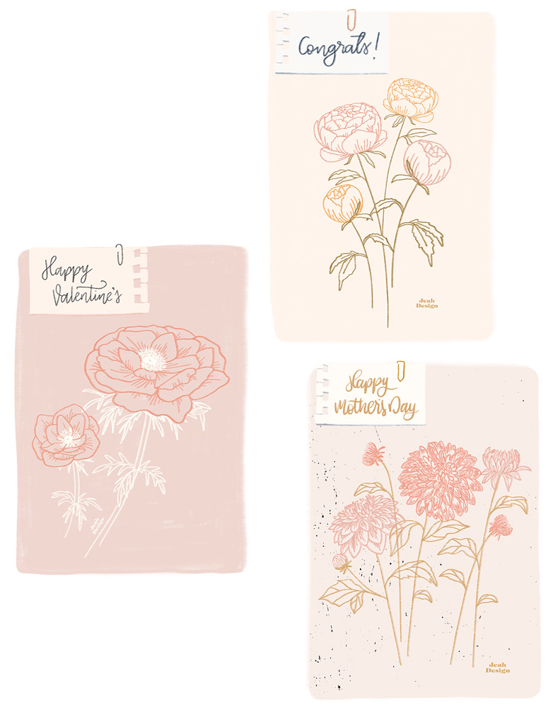 Three pastel card designs with different florals: poppies, peonies and dahlias.