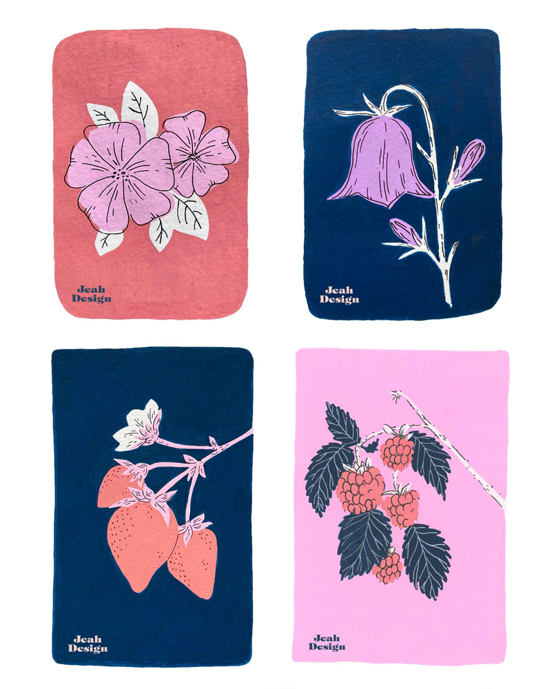 Four Posca pen illustrations of Flowers and berries in navy, coral red, pink and white colours.