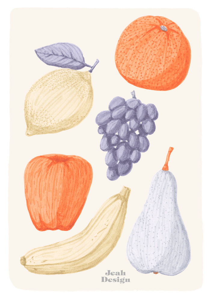 A card design of various fruits, like banana, apple, lemon, pear, orange and grapes, illustrated with brush pens, in a limited colour palette.