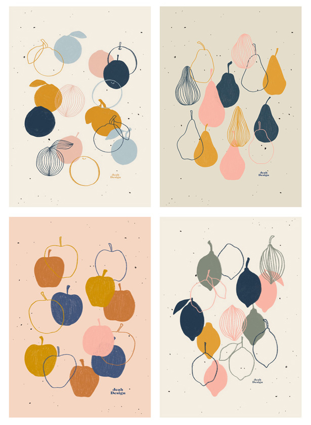 Fruito collection of four illustrations of different fruit, like oranges, pears, apples and lemons.