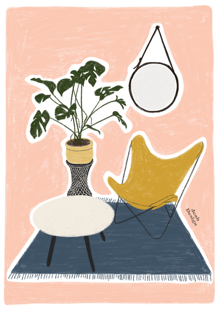 Digital illustration of a favourite nook with a butterfly chair, monstera, round wall mirror and a sofa table.