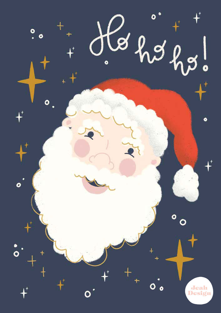 """A card design with a Santa Claus illustration and the text """"Ho, ho, ho"""" hand-lettered on it."""