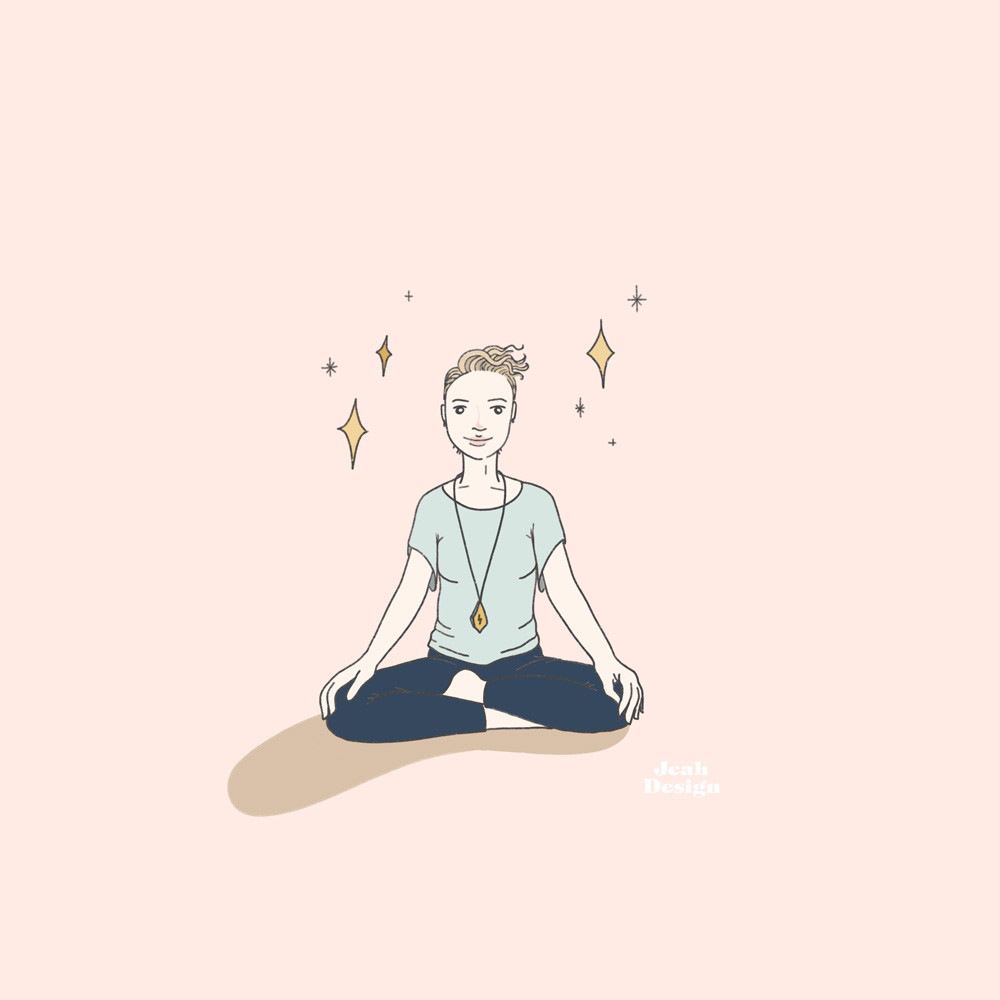 Illustration of a cute yoga girl in a t-shirt and leggings on a pale pink background.