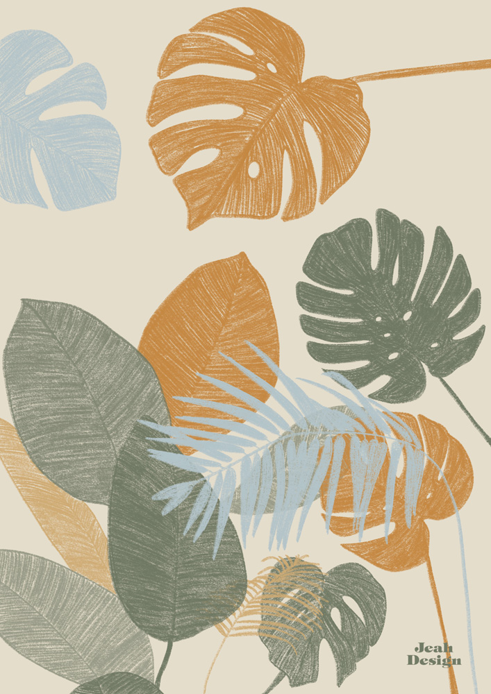 Illustrated tropical plants like monstera, palm and rubber tree drawn in earthy colours.