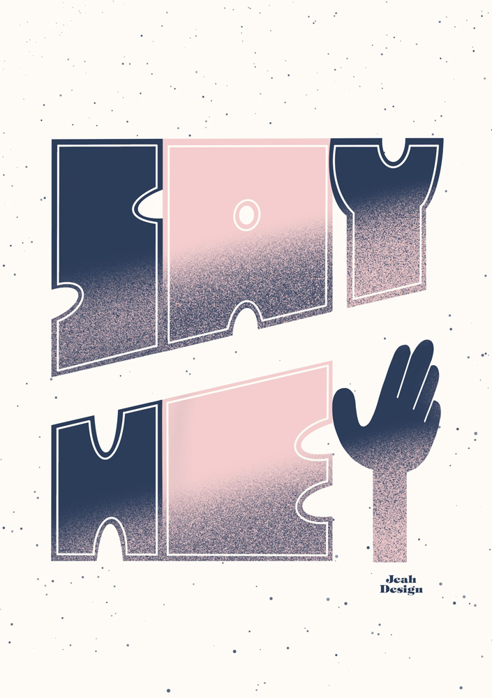 Digital hand-lettering of the text 'Say Hey' drawn with navy blue and pale pink.
