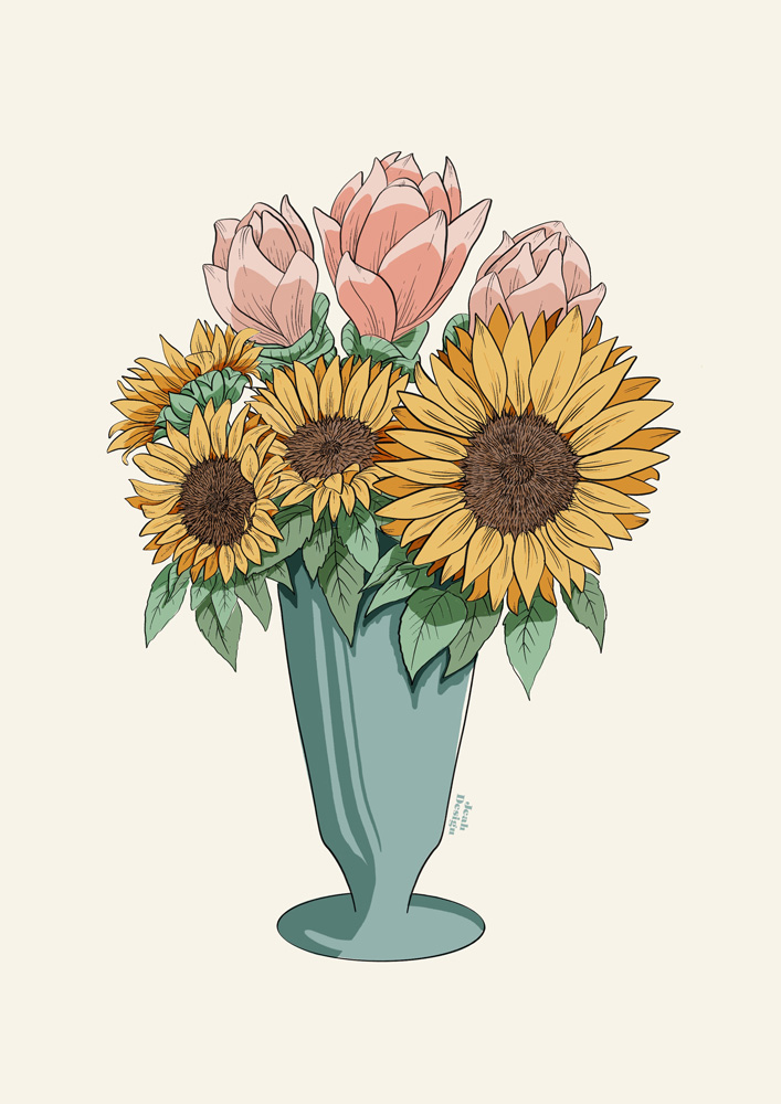 An illustration of a green vase full of sun flowers and other flowers.