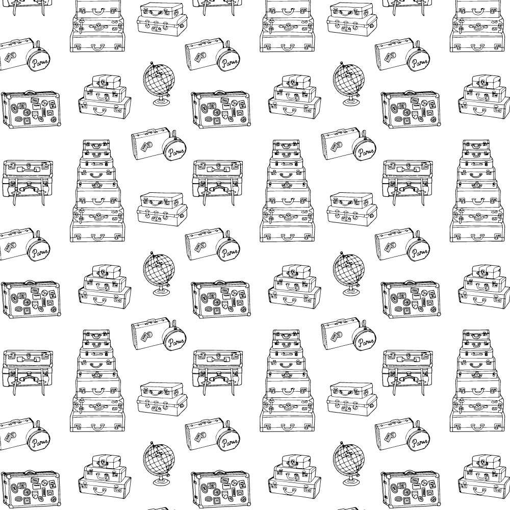 Surface pattern design with black and white vintage suitcases.
