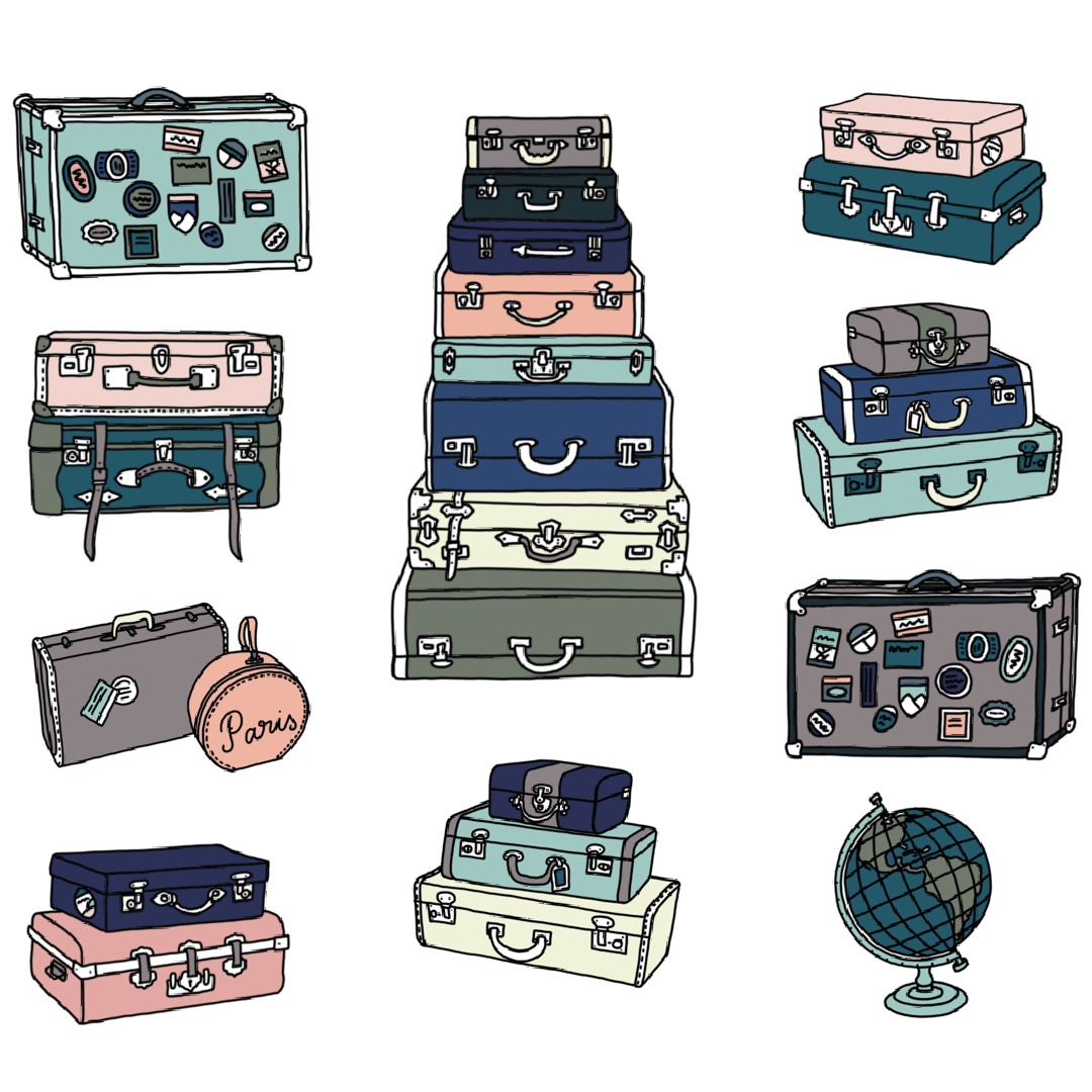 Surface pattern design with mainly pastel vintage suitcases and a globe.