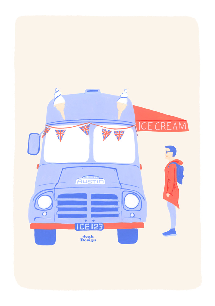 Hand-painted illustration of a vintage ice cream truck and a blue-haired customer.