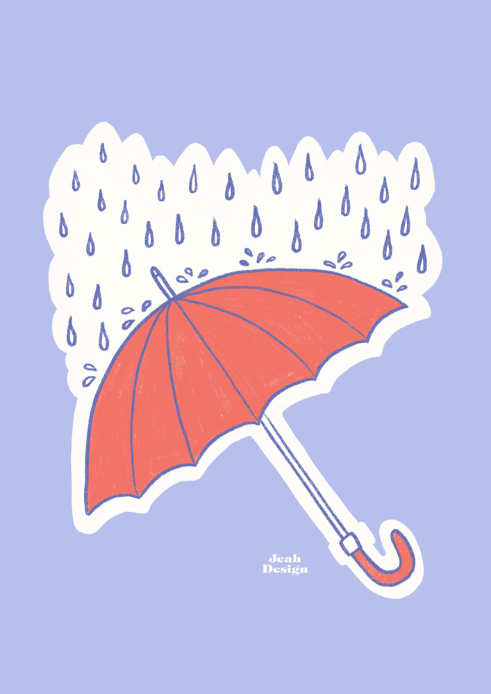 Illustration of a red umbrella and some blue raindrops falling on it.