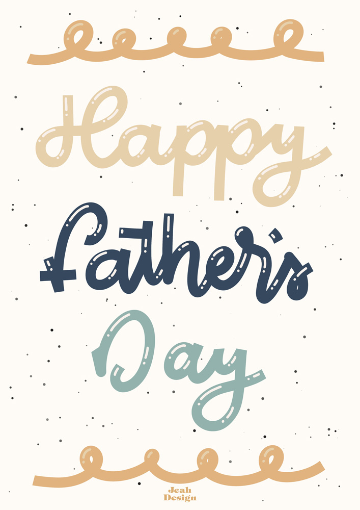 Digitally hand-lettered Father's Day card with pastel and navy colours.