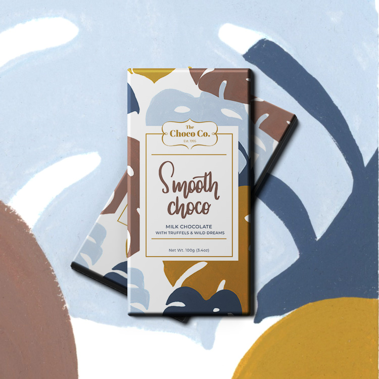 Case study of a chocolate packaging for Choco Company's Smooth Choco.