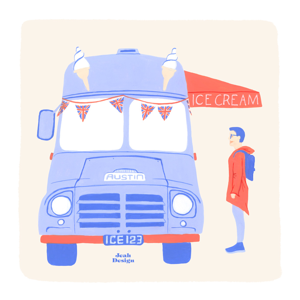 Painted illustration of a vintage ice cream truck and a blue-haired customer for portfolio.