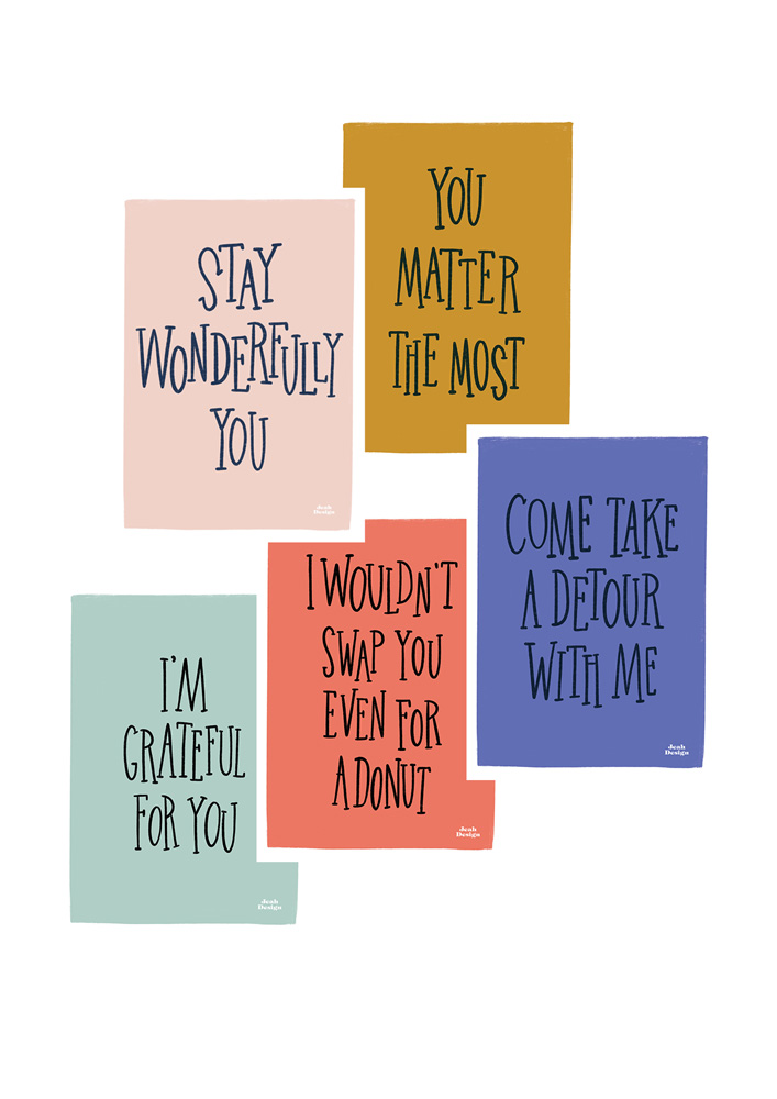 Collection of hand-lettered cards with romantic quotes like