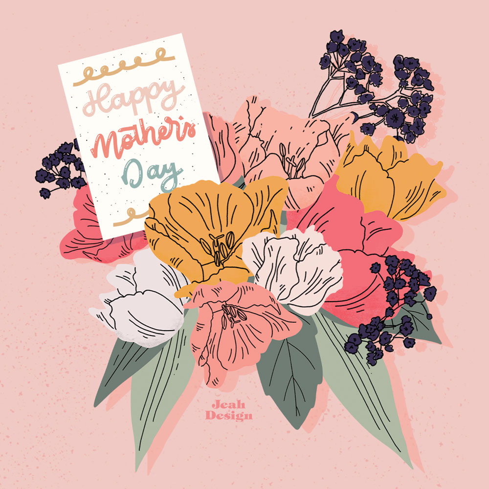 Digital illustration of a pastel flower bouquet and a Mother's Day card.
