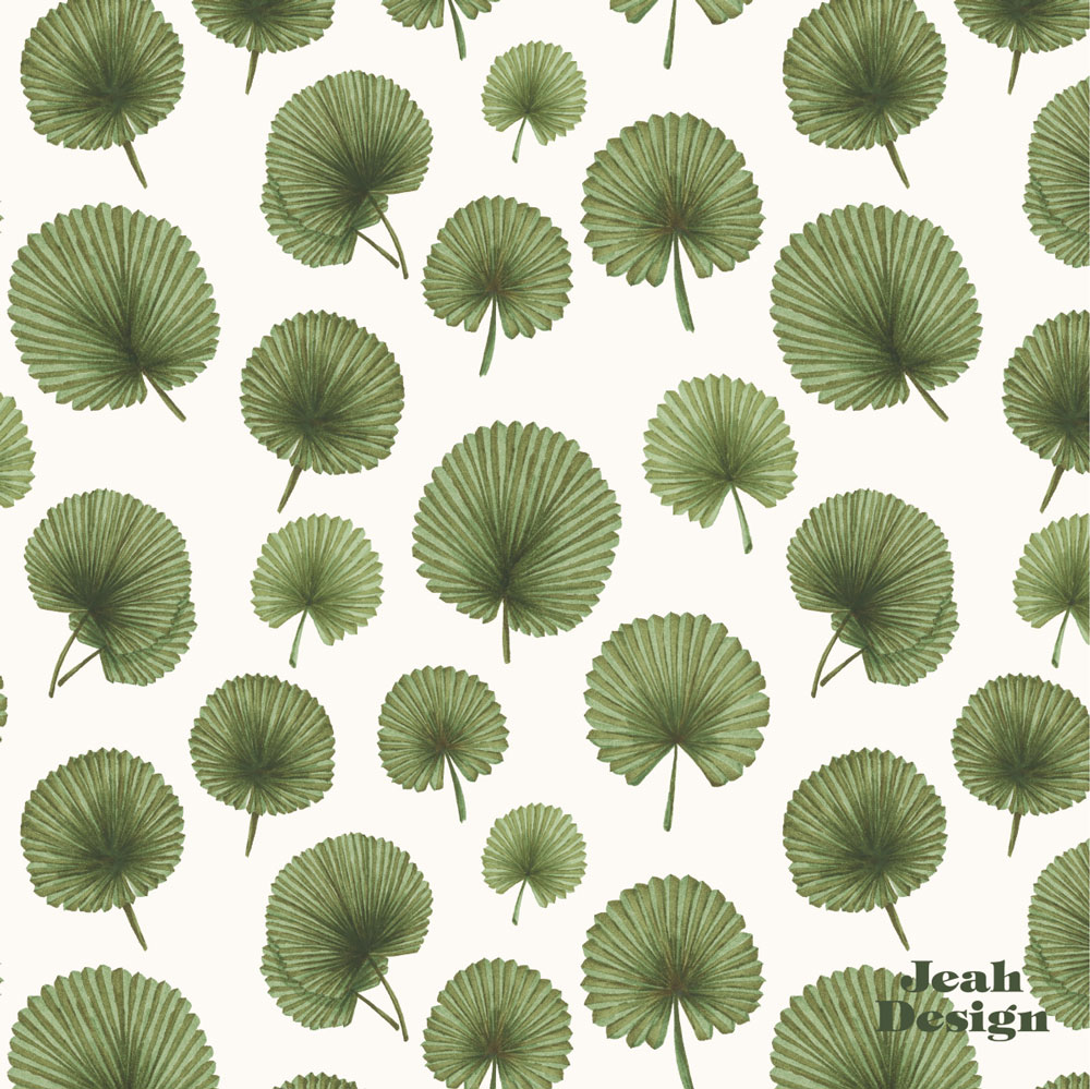 A repeating surface pattern with Licuana leaves illustrated with green brush pens.