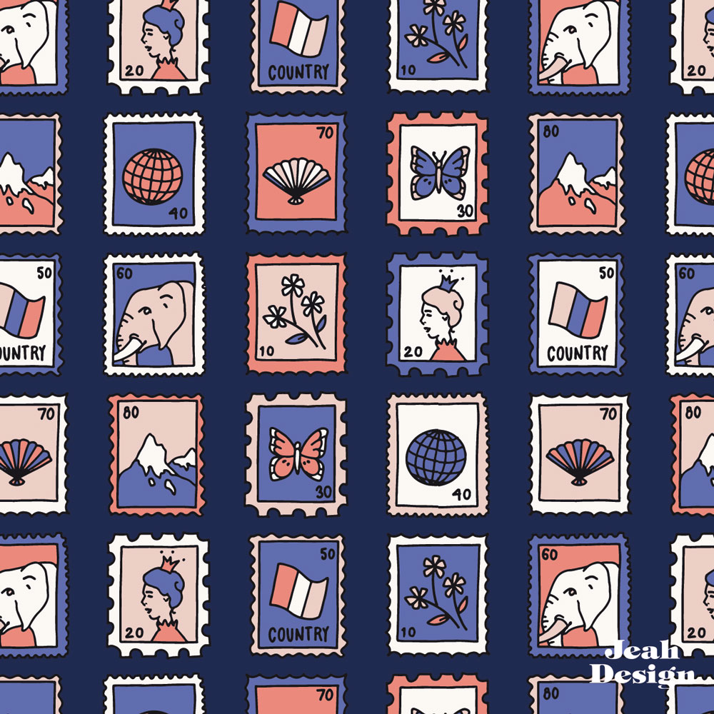 A repeating surface pattern with cute postage stamps illustrated in navy, coral, blush and blue colors.