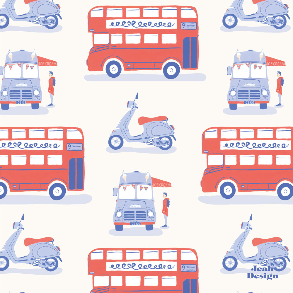 A repeating surface pattern of double deckers, vespas and vintage ice cream trucks painted with red, blue and pale blue acryla gouache.