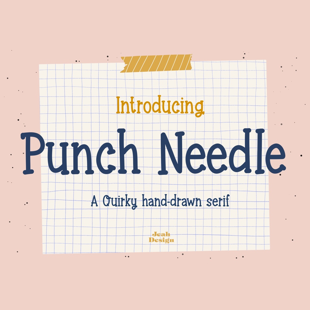 Typography project about a quirky hand-drawn serif called Punch Needle.